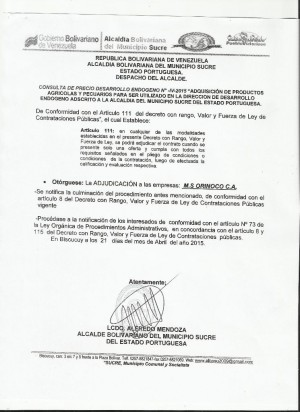 ADJUDICACION  IV  DESARROLLO ENDOGENO