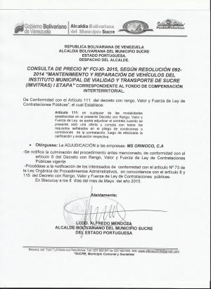 ADJUDICACION  XI FCI CONSULTA