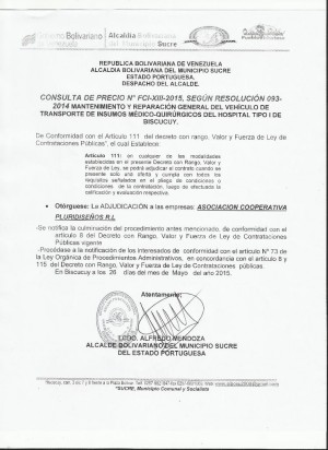 ADJUDICACION XIII FCI CONSULTA