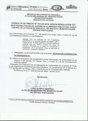 ADJUICACION  XII FCI CONSULTA