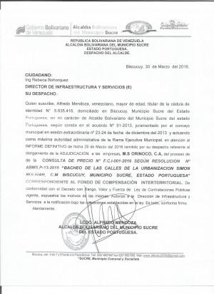 ADJUDICACION  BACHEO 001-2016