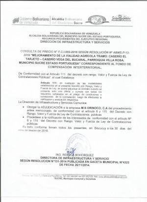 ADJUDICACION Y NOTIFICACION PARROQUIA VILLA ROSA 002-20160002