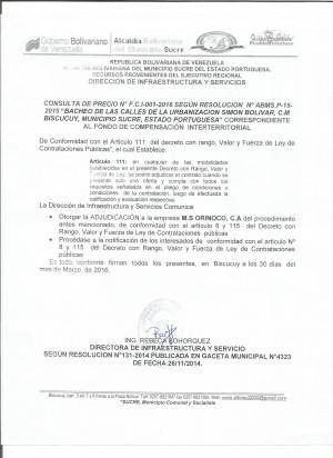 NOTIFICACION BACHEO 001-2016