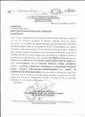ADJUDICACION Y NOTIFICACION parroquia la concepcion 003-20160001
